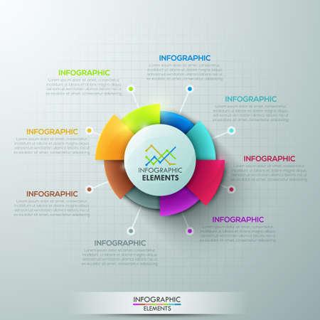 grafica de pastel: Opciones de infografía moderna bandera con el gráfico circular de 8 partes en fondo gris. Vector. Puede ser utilizado para el diseño web y el diseño de flujo de trabajo