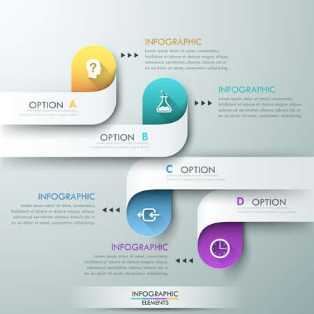 options: Modern infographics options banner for 4 options made of colorful paper ribbons. Vector. Can be used for web design and  workflow layout Illustration