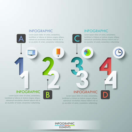 number banner: Modern infographics options banner with 4 paper colorful numbers and circles. Vector. Can be used for web design and  workflow layout