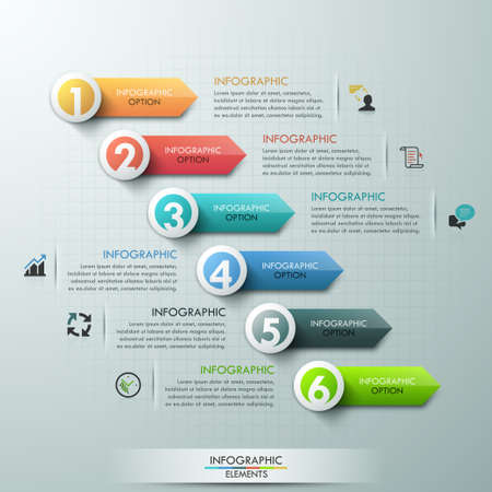 Modern infographics options banner with colorful paper arrows for 6 options. Vector. Can be used for web design and  workflow layout Ilustração