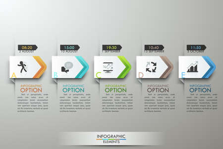 Modern infographics options banner with timeline made of 5 colorful paper ribbons. Vector. Can be used for web design and  workflow layout