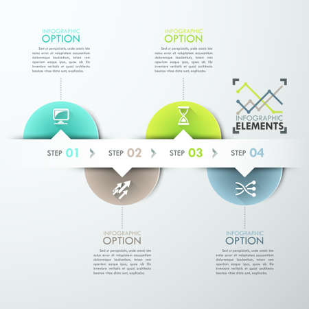 web template: Modern infographics process template with circle sheets, icons and text for 4 steps. Vector. Can be used for workflow layout, banner, diagram, number options, web design