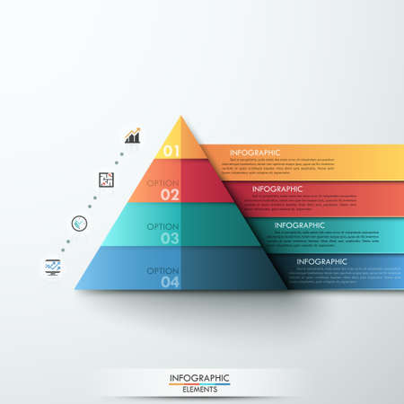 web template: 3d modern infographic option template with pyramid made of colorful paper ribbons. Vector. Can be used for workflow layout, banner, diagram, number options, web design Illustration