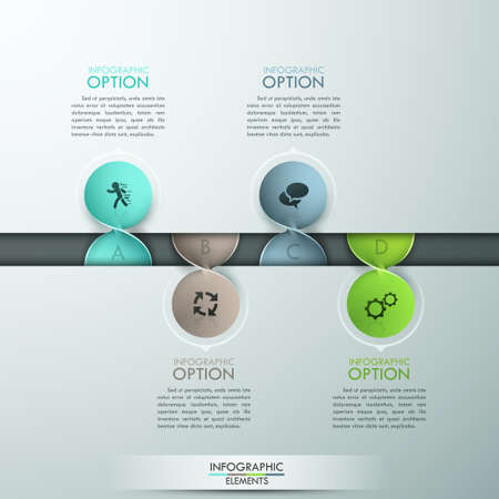 background project: Modern infographics options template with colorful spiral paper sheets and icons on grey background. Vector. Can be used for workflow layout, banner, diagram, number options, web design