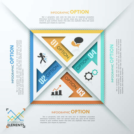 quadrat: Abstract infographics template design with numbered arrows - vector illustration. Business concept with four options, parts, steps or processes. Illustration