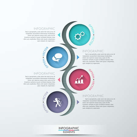 Vector circle process template infographic. Template for diagram, graph, presentation and round chart. Business concept with 4 options, parts, steps or processes Ilustração