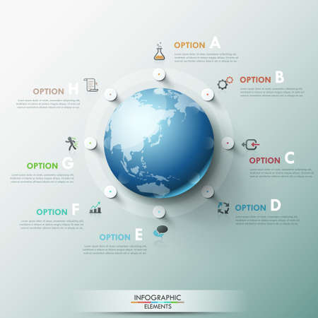 Modern infographics global template for 8 options. Vector. Can be used for workflow layout, banner, diagram, web design, infographic template. Ilustração