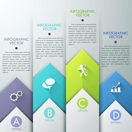 Abstract infographics template design met papier pijlen - vector illustratie. Zakelijk concept met vijf opties, delen, stappen of processen.
