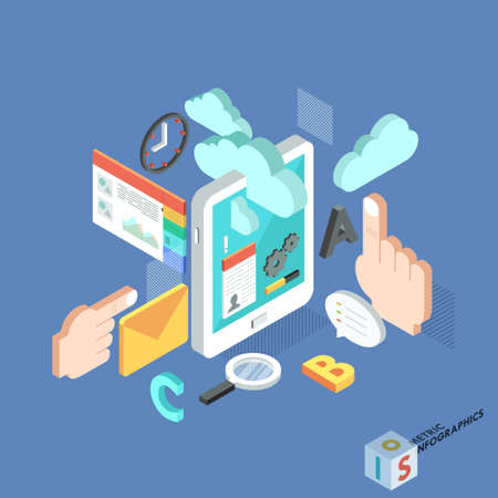 web services: Flat 3d isometric creative tablet mobile services web infographics concept. Vector illustration.  Can be used for web design and  workflow layout