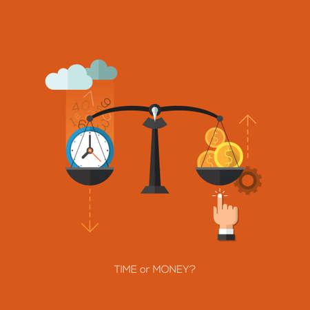 business time: Vector  seo flat and colorful business time or money scales concept. Icons for web design, seo, social media, infographics and internet advertising.