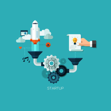 Startup launching process flat web infographic technology online service application internet business concept vector. Rocket space ship taking off idea. Design elements for web and mobile applications, infographics and workflow layout Illustration