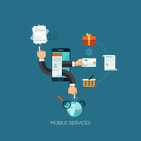 phone hand: Flat design vector illustration concept for mobile services. Design elements for web and mobile applications, infographics and workflow layout