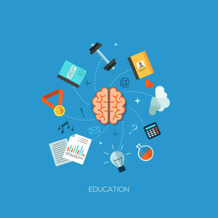 internet education: Education brain process flat web infographic technology online service application internet business concept vector. Design elements for web and mobile applications, infographics and workflow layout
