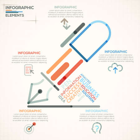 outline of: Modern infographics options banner with colorful pen in outline style. Vector. Can be used for web design and  workflow layout