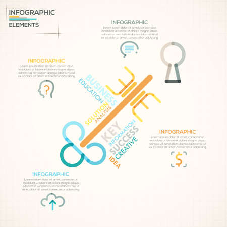 option key: Modern infographics options banner with colorful key in outline style. Vector. Can be used for web design and  workflow layout