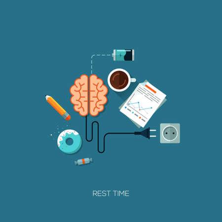 Rest time brain have a rest creative flat web infographic online service application internet business concept vector. Design elements for web and mobile applications, infographics and workflow layout
