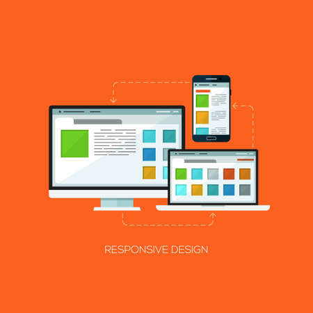 page layout design: Responsive design flat web infographic technology online service application internet business concept vector. Screen, laptop and mobile phone. Design elements for web and mobile applications, infographics and workflow layout