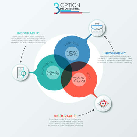 Modern infographics options banner area chart with 3 intersection circles and icons. Vector. Can be used for web design, presentations, brochures and  workflow layout