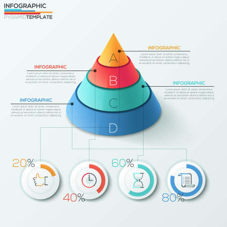 3d modern infographics options banner with cone pyramid divided into 4 parts and pie charts. Vector. Can be used for web design and  workflow layout Ilustração