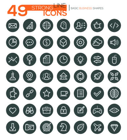 Set of 49 thin line vector icons for business, web design, presentations, seo, e-commerce, infographic, banking, applications, etc Vektorové ilustrace