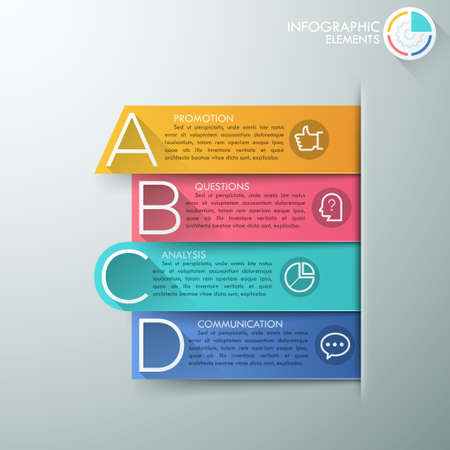 big letters: Modern infographics options banner with 4 realistic colorful ribbons and big letters for 4 options.