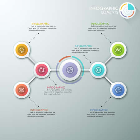 Modern flowchart or mind map infographics template with paper circles, icons and pie chart.