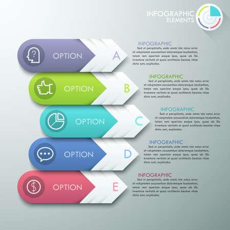 Modern infographics options banner with 4 paper arrows and flat icons on grey background. Vektoros illusztráció