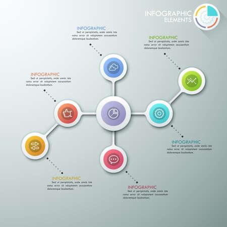 diagrama de flujo: Diagrama de flujo o mapa mental infograf�a modernas plantilla con c�rculos de papel, iconos y gr�fico de sectores.