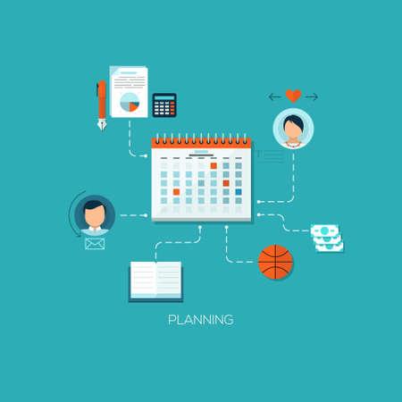 Flat conçu concept illustration modèle pour l'organisation du processus de planification et de travail. Les éléments de conception pour le Web et les applications mobiles, des infographies et des flux de travail mise en page