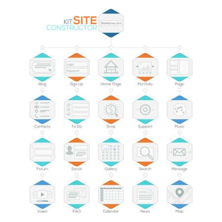 prototipo: Conjunto de la Web Plantillas planas. Elementos de navegación y los iconos de mapa del sitio.