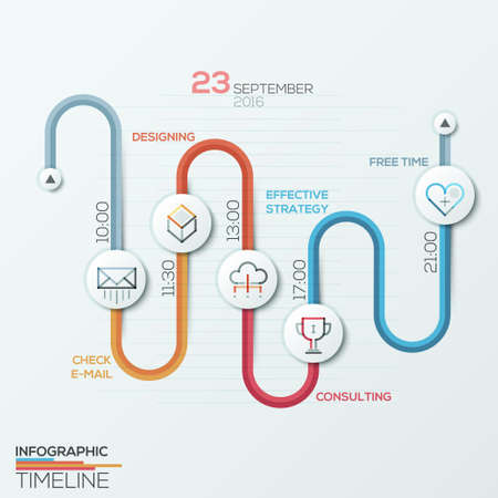 Business timeline infographic template. Path divided into colorful steps with circles.