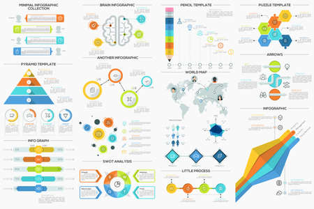 data collection: Big collection of flat minimal infographic templates. Can be used for web design, workflow layout, social media, presentations, brochures, entertainment and games.