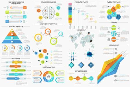 Grande collezione di piatti modelli infographic minimi. Può essere utilizzato per il web design, il layout del flusso di lavoro, i social media, presentazioni, brochure, animazioni e giochi. Vettoriali