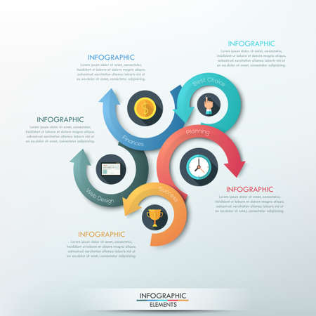 arrows circle: Modern infographics options banner with 5-part arrow process. Can be used for web design, presentations, brochures and workflow layout