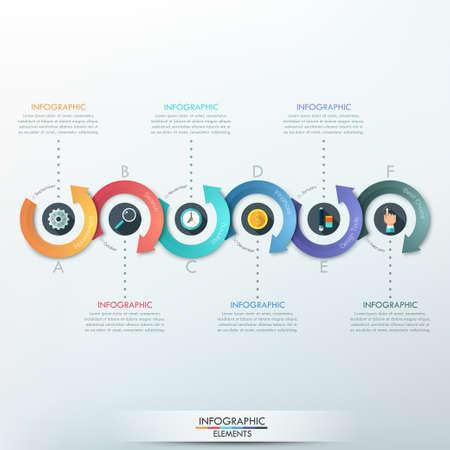 Modern infographics opties banner met 6-delige pijl proces. Kan gebruikt worden voor web design, presentaties, brochures en workflow layout