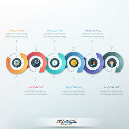 Modern infographics options banner with 6-part arrow process. Can be used for web design, presentations, brochures and workflow layout
