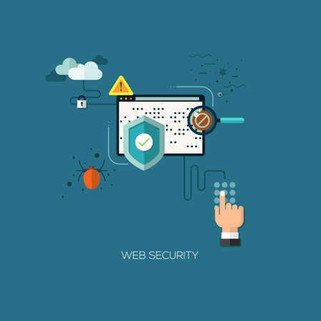 web security: Flat designed concept illustration template for web security. Design elements for web and mobile applications, infographics and workflow layout
