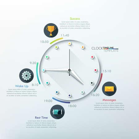 reloj: línea de tiempo con el reloj infografía moderna mínima creativo de 12 pasos.