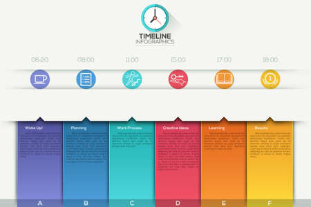timeline: Business timeline infographic template with paper ribbons. can be used for workflow layout, banner, diagram, number options, web design.