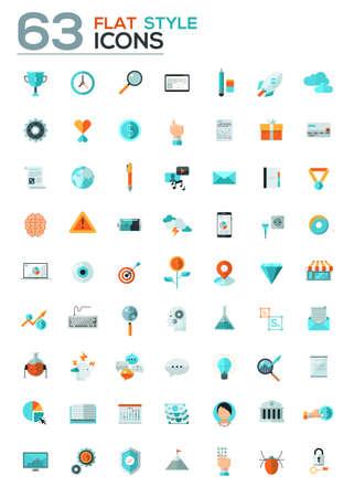 Collection moderne icônes plats dans des couleurs élégantes d'objets web design, des affaires, de bureau et des articles de marketing. Isolé sur fond blanc.