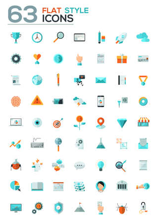 office objects: Modern flat icons collection in stylish colors of web design objects, business, office and marketing items. Isolated on white background.