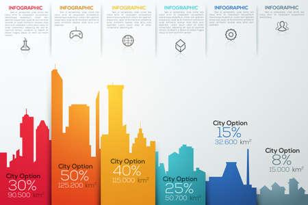 Modern infographic optie banner met kleurrijke stad staafdiagram. Kan gebruikt worden voor workflow lay-out, banner, diagram, webdesign, infographic sjabloon. Stock Illustratie