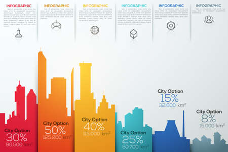 business office: Modern infographic option banner with colorful city bar chart. Can be used for workflow layout, banner, diagram, web design, infographic template.