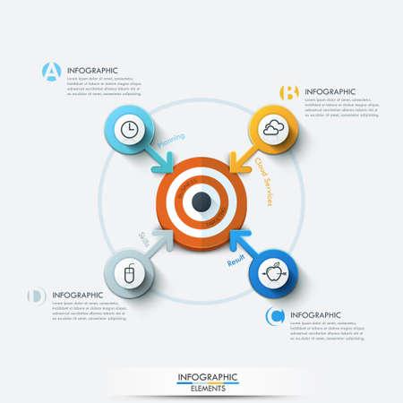Business-Ziel-Marketing-Konzept. Ziel mit Pfeilen und Linien Symbole für die vier Optionen. Kann für die Workflow-Layout, Banner, Diagramm, Web-Design, Infografik-Vorlage verwendet werden. Vektorgrafik