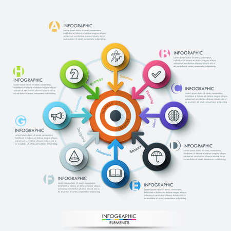 target: Business target marketing concept. Target with arrows and line icons for 8 steps. Can be used for workflow layout, banner, diagram, web design, infographic template.