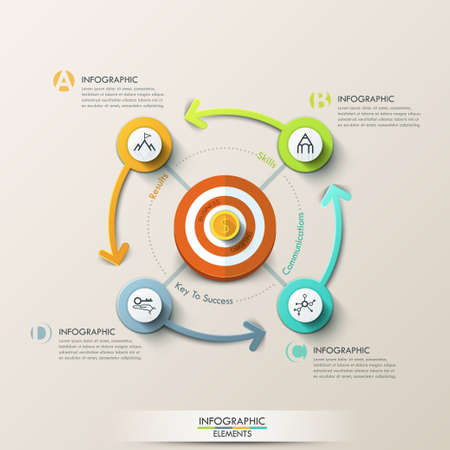 TARGET: Business target marketing concept. Target with arrows and line icons for 4 steps. Can be used for workflow layout, banner, diagram, web design, infographic template.
