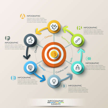 marketing target: Business target marketing concept. Target with arrows and line icons for 6 steps. Can be used for workflow layout, banner, diagram, web design, infographic template.