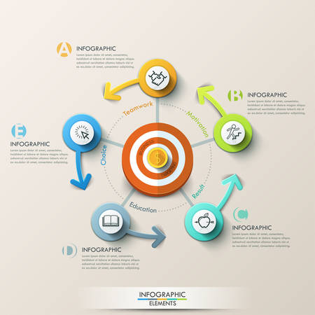 Business target marketing concept. Target with arrows and line icons for 5 steps. Can be used for workflow layout, banner, diagram, web design, infographic template.