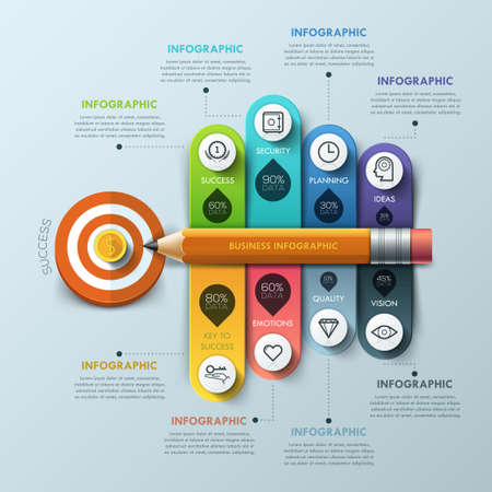 Business target marketing concept. Pencil and bubble speech ribbons template for 8 options. Can be used for workflow layout, diagram, number options, step up options, web design, banner template, infographic.