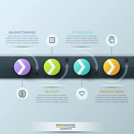 step up: Modern business style infographic template. Timeline with circles and ribbon for 4 options.  can be used for workflow layout, diagram, number options, step up options, web design, infographics.